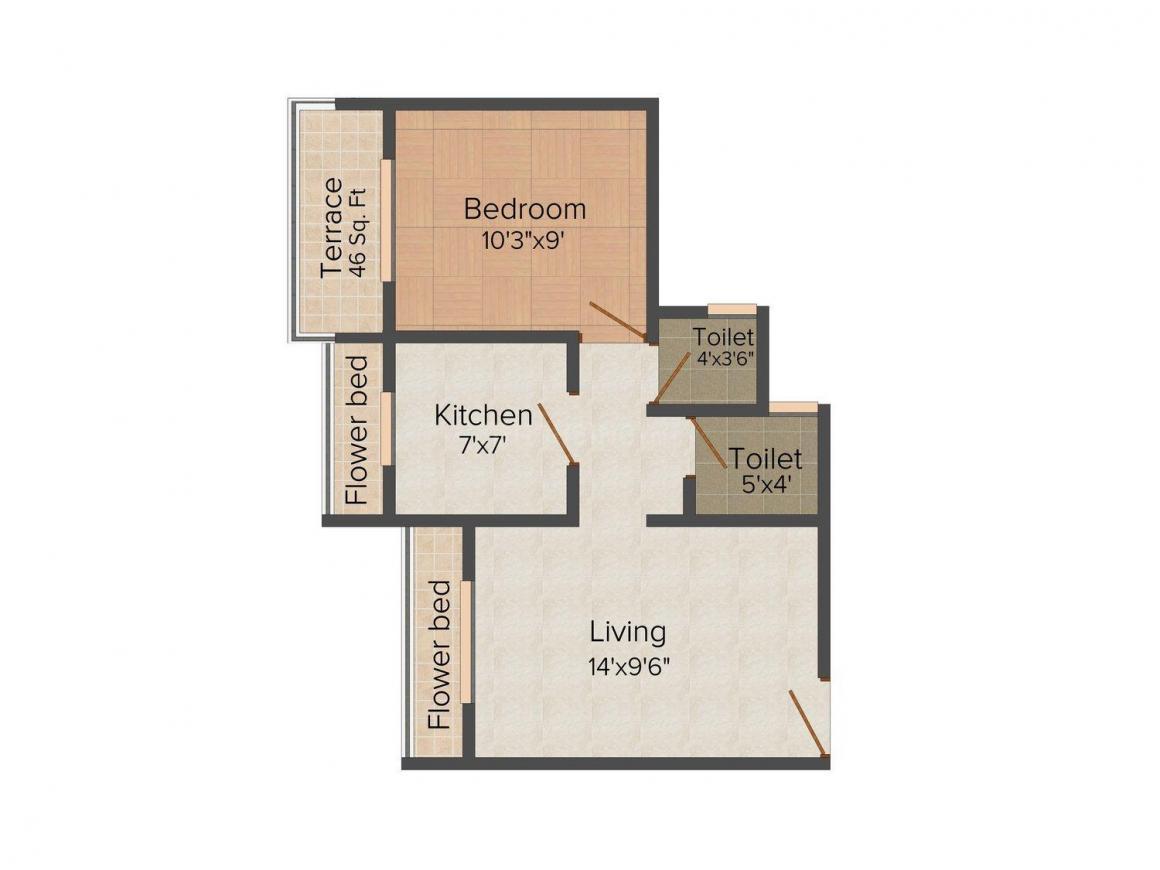 Floor Plan Image of 460.0 - 1403.0 Sq.ft 1 BHK Apartment for buy in Labheshwar Aura
