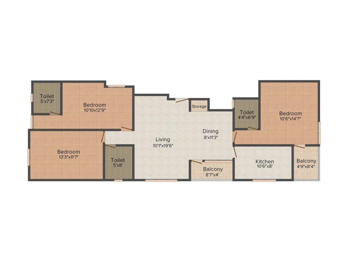 Floor Plan Image of 1240.0 - 1256.0 Sq.ft 3 BHK Apartment for buy in UDB JS Divine