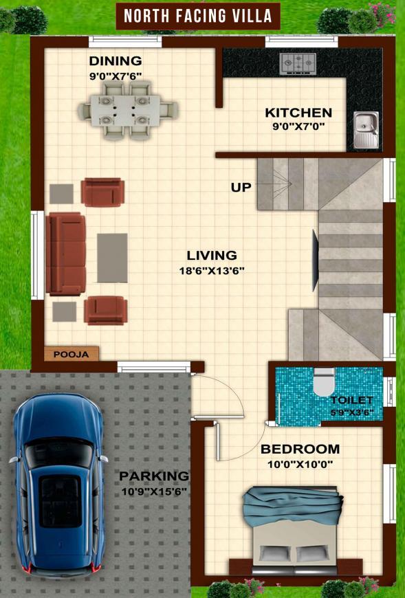 Floor Plan Image of 1350 - 1506 Sq.ft 3 BHK Villa for buy in Dream Akshara Villas