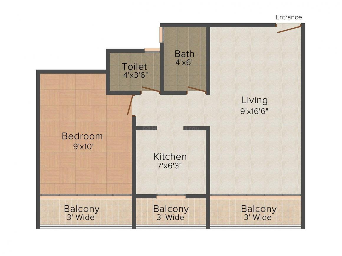 Floor Plan Image of 0 - 605.0 Sq.ft 1 BHK Apartment for buy in Ayan Complex 2