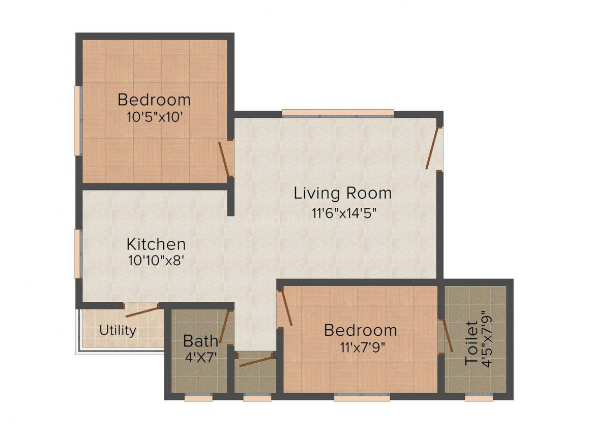 Floor Plan Image of 595 - 665 Sq.ft 2 BHK Apartment for buy in Happy Home Havenn