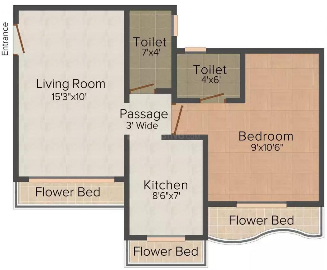 Floor Plan Image of 0 - 650.0 Sq.ft 1 BHK Apartment for buy in Manshi Classic