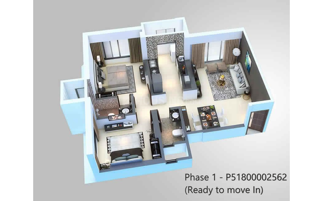 Jaydev Gorai Laxmi CHSL Casa Bellisimo Floor Plan: 2 BHK Unit with Built up area of 627 sq.ft 1