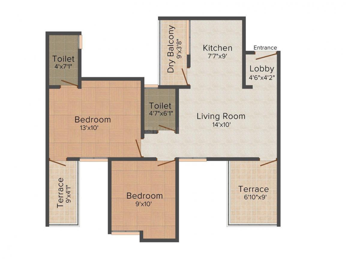 38 Park Majestique Floor Plan: 1 BHK Unit with Built up area of 463 sq.ft 1