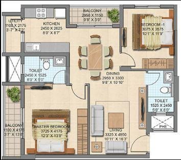 Capstone Life Flowing Tree Floor Plan: 2 BHK Unit with Built up area of 1324 sq.ft 1