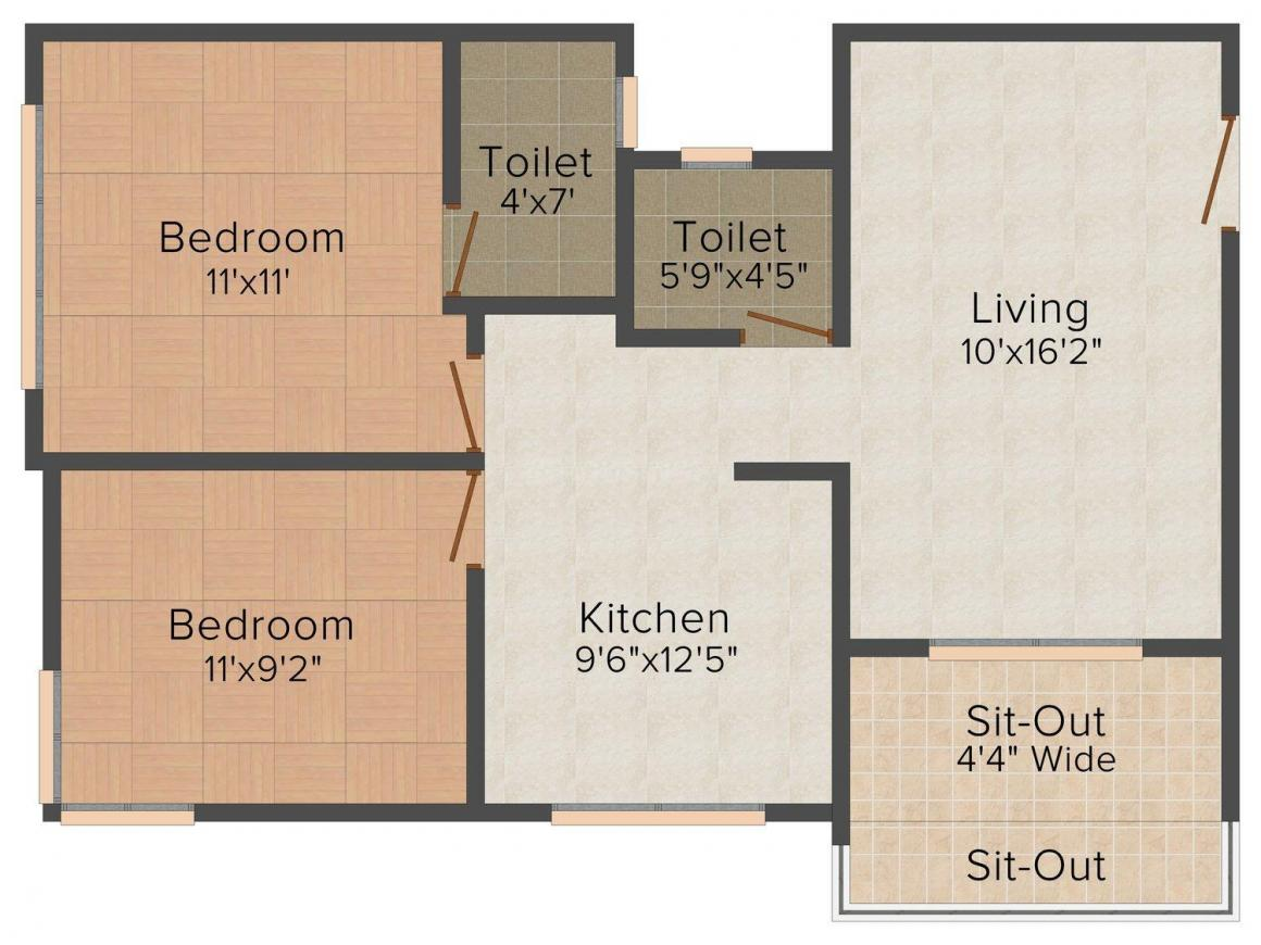 Floor Plan Image of 686 - 925 Sq.ft 1 BHK Apartment for buy in S K Homes Home Classic
