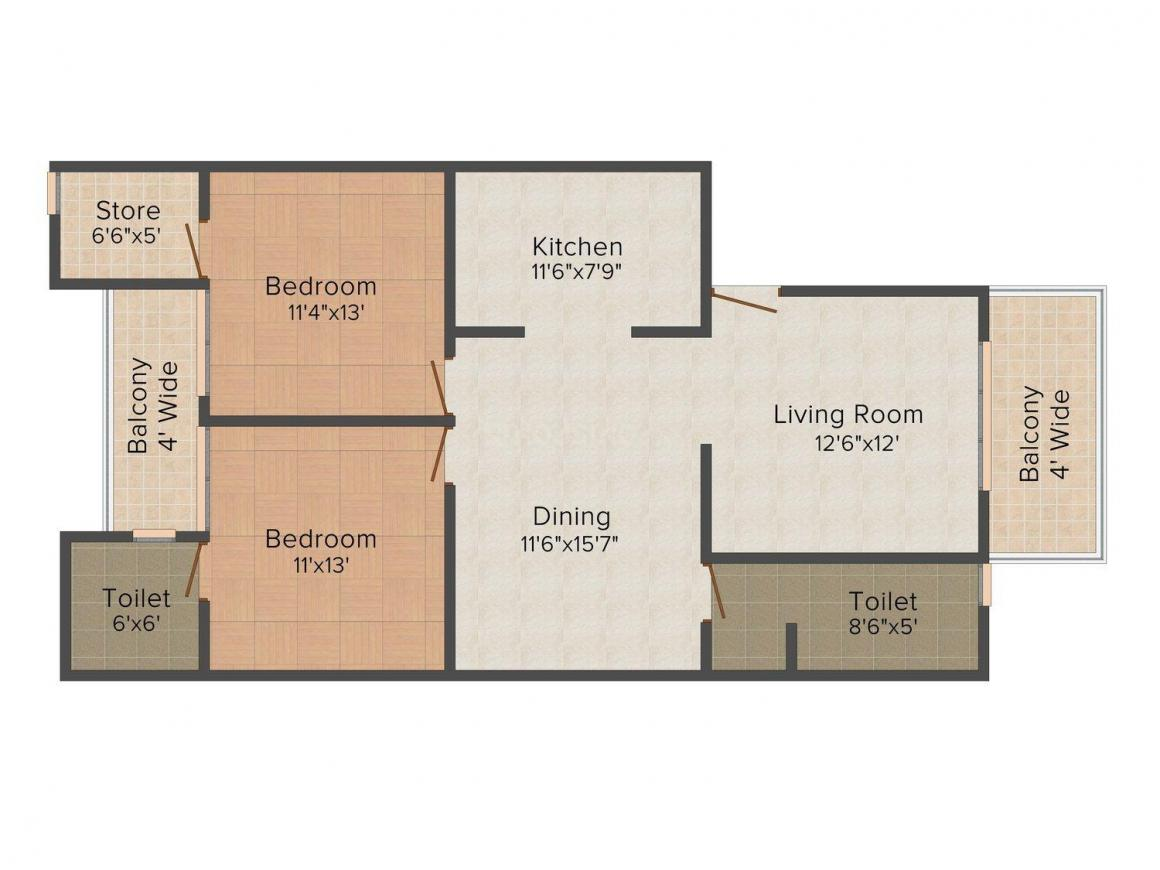 Floor Plan Image of 984 - 1212 Sq.ft 2 BHK Apartment for buy in Kaanha Space Greens