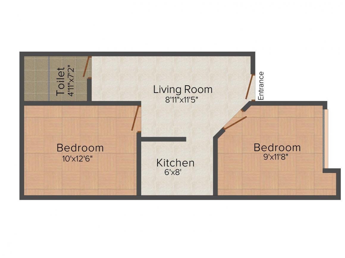Floor Plan Image of 0 - 558 Sq.ft 2 BHK Villa for buy in Platinum Dwarka Eclave II