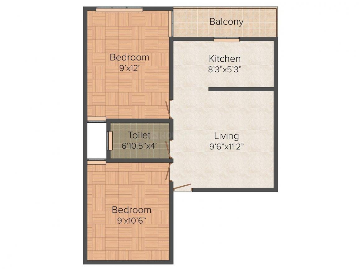 Balajee Homes Floor Plan: 2 BHK Unit with Built up area of 450 sq.ft 1