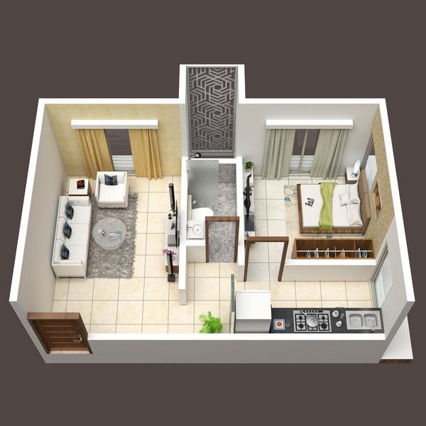 Svarna Kojagiri Floor Plan: 1 BHK Unit with Built up area of 375 sq.ft 1