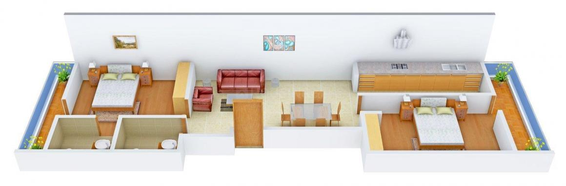 Floor Plan Image of 0 - 1150.0 Sq.ft 2 BHK Apartment for buy in Yash Apartment - CD - 250