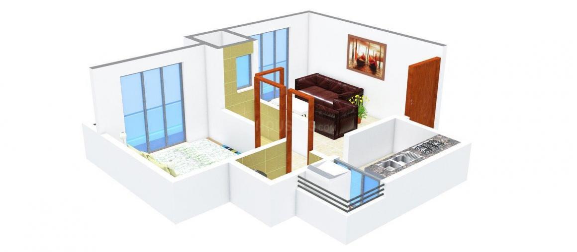 Floor Plan Image of 0 - 615.0 Sq.ft 1 BHK Apartment for buy in Malik Tushar Apartment