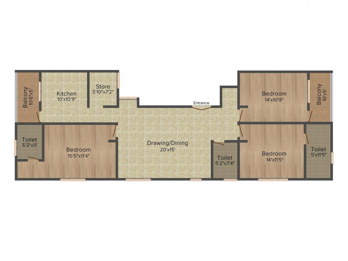 Kharakua Shubh Ashiyana Floor Plan: 3 BHK Unit with Built up area of 1800 sq.ft 1