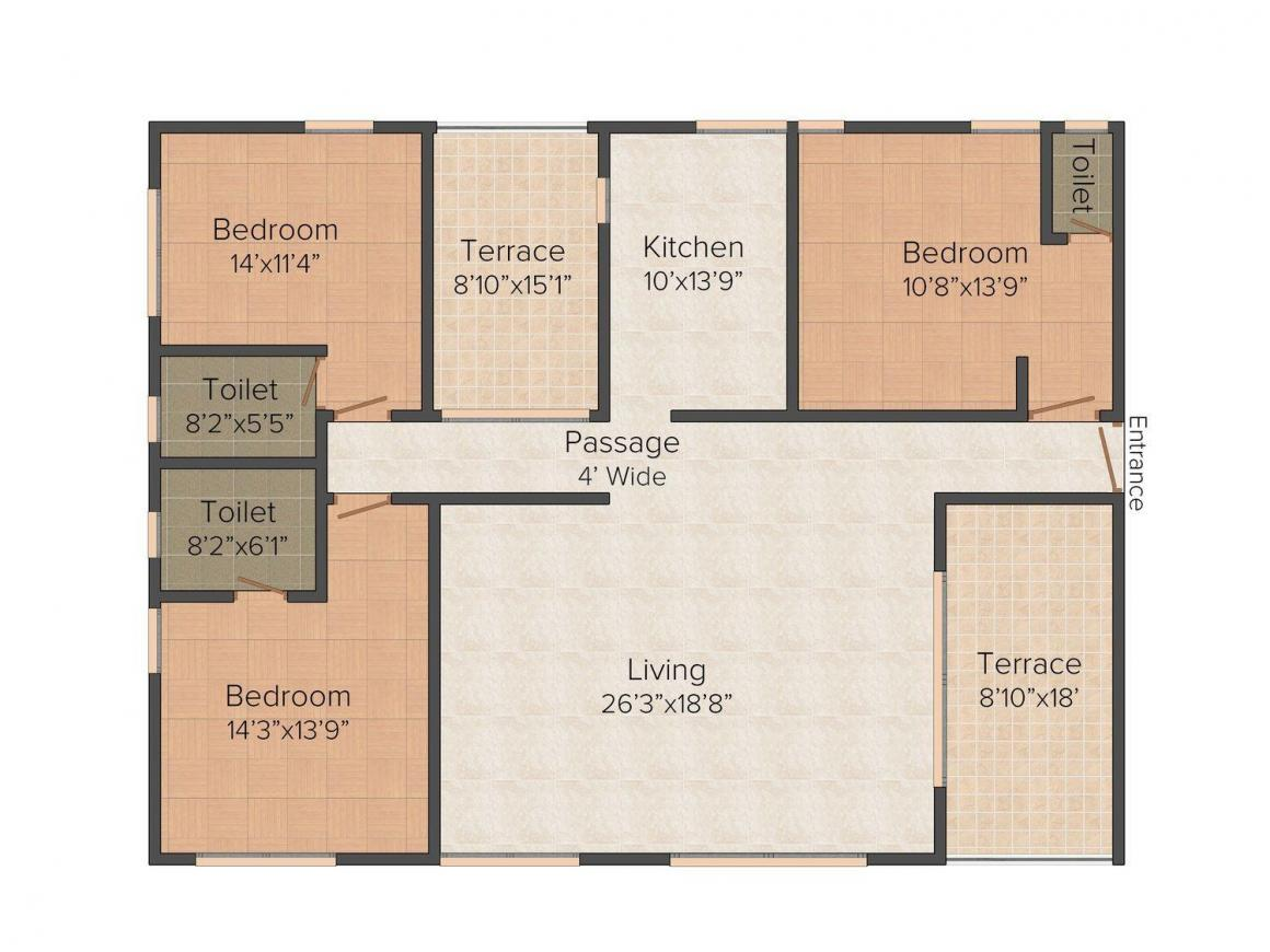 Floor Plan Image of 0 - 1527.0 Sq.ft 3 BHK Apartment for buy in Water's Edge Phase I