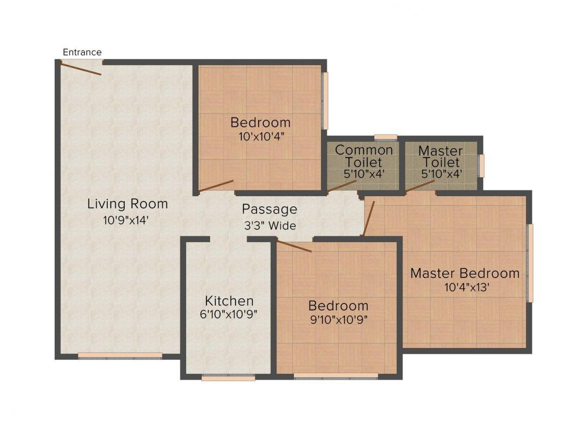 Floor Plan Image of 555 - 780 Sq.ft 2 BHK Apartment for buy in Shiloo Mahal