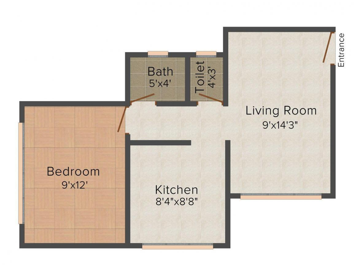 Floor Plan Image of 637.0 - 991.0 Sq.ft 1 BHK Apartment for buy in Satyam Pride