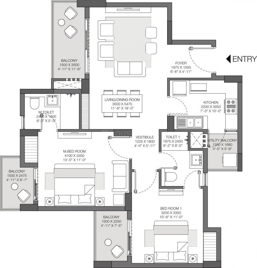 Godrej Nurture Phase 1 Floor Plan: 2 BHK Unit with Built up area of 1262 sq.ft 1