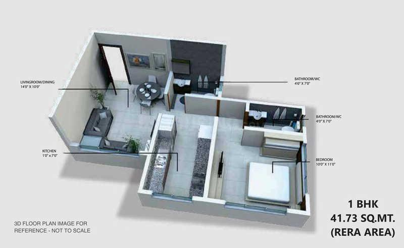 Skyline Viha Wing B Floor Plan: 1 BHK Unit with Built up area of 449 sq.ft 1