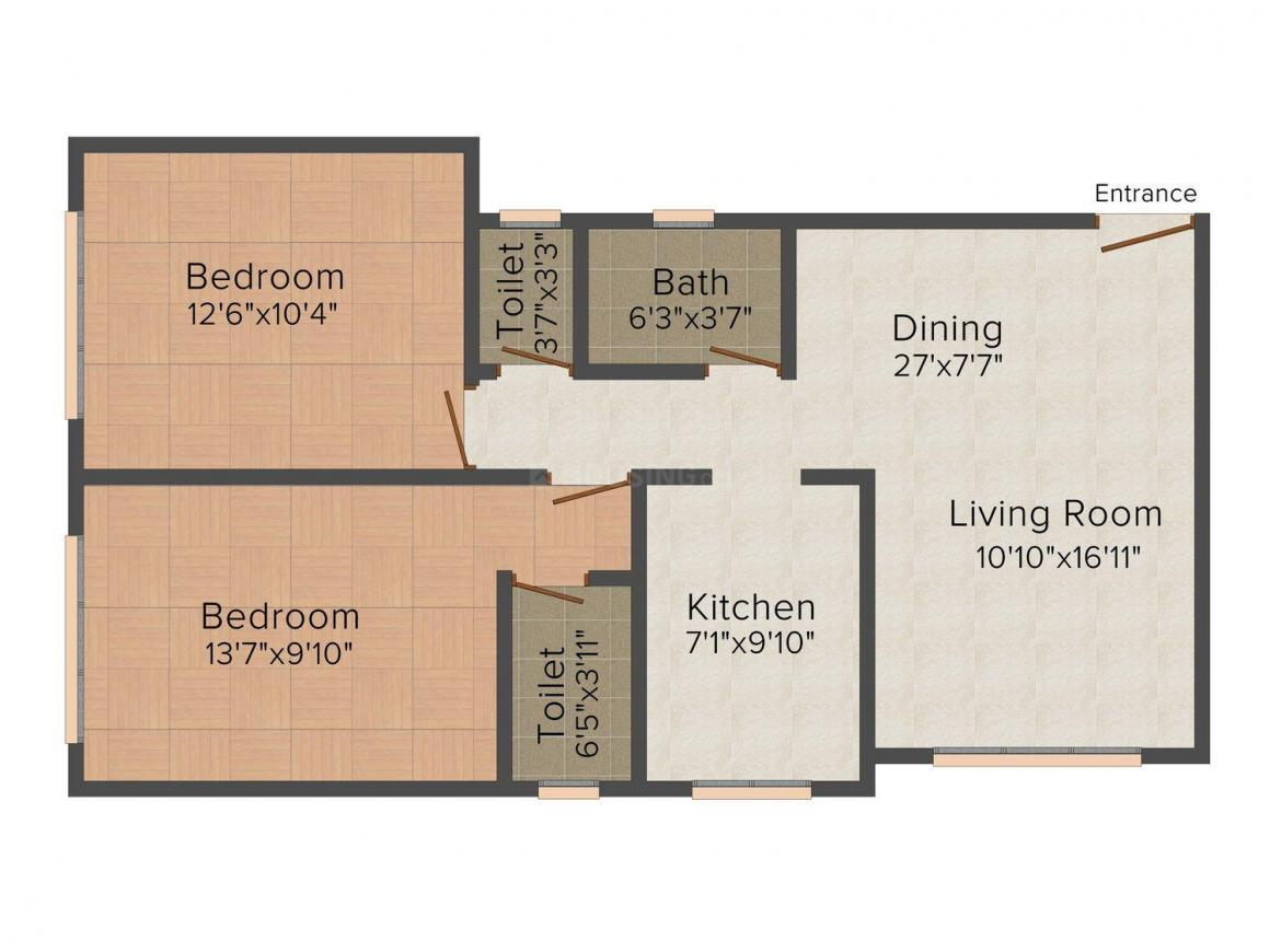 Floor Plan Image of 425.0 - 836.0 Sq.ft 1 BHK Apartment for buy in Triveni Square