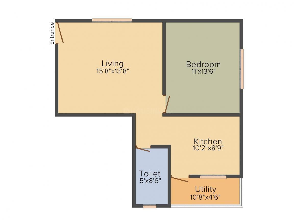 Floor Plan Image of 760 - 1020 Sq.ft 1 BHK Apartment for buy in Anjan Iris