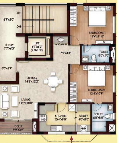 Sreerosh Alicia Floor Plan: 2 BHK Unit with Built up area of 806 sq.ft 1