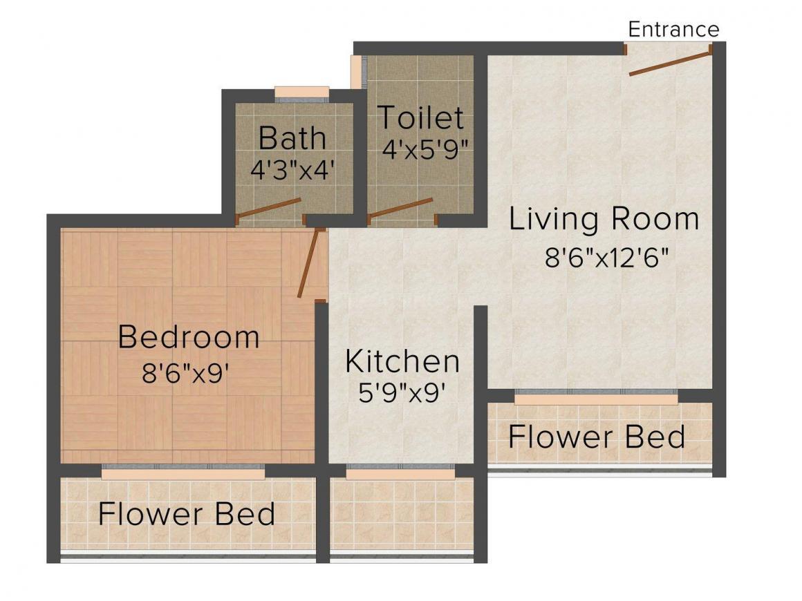 Floor Plan Image of 0 - 610.0 Sq.ft 1 BHK Apartment for buy in Mangal Pragati Hari Shiv Mangal