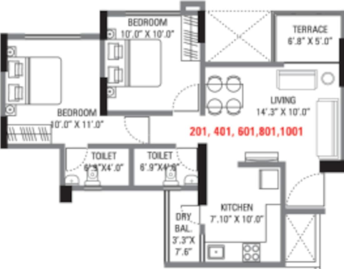 V Divine Dazzle B Floor Plan: 2 BHK Unit with Built up area of 627 sq.ft 1