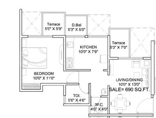 Dynamic Dynamic Linea Floor Plan: 1 BHK Unit with Built up area of 357 sq.ft 1