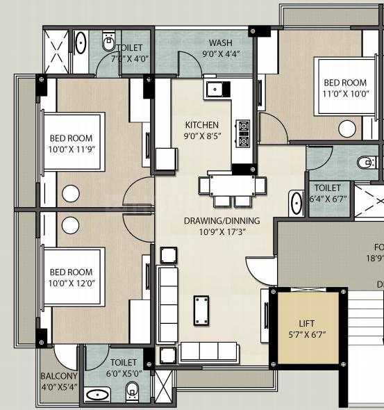Panchamrut Mansi Prime Floor Plan: 3 BHK Unit with Built up area of 1440 sq.ft 1