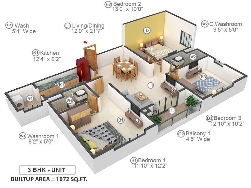 Elita Garden Vista Phase 2 Floor Plan: 3 BHK Unit with Built up area of 1072 sq.ft 1