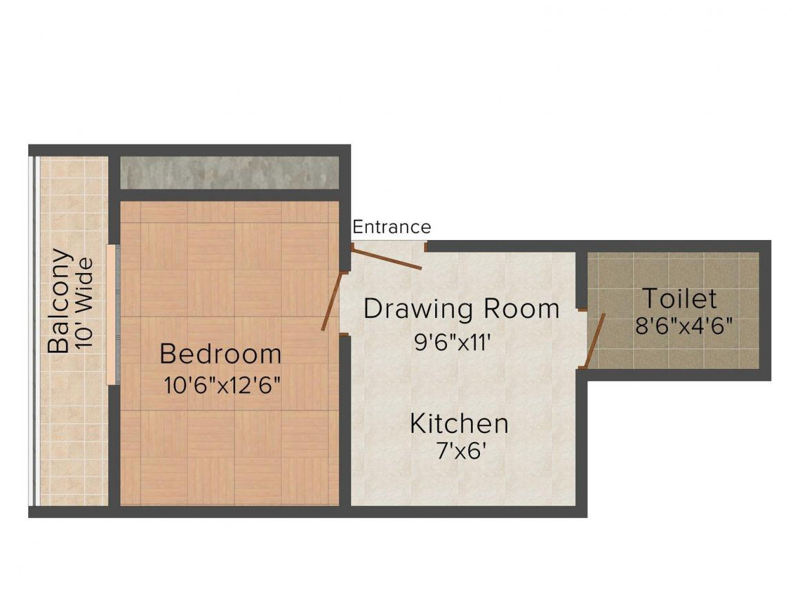 Rudra Kabir Mansion Floor Plan: 1 BHK Unit with Built up area of 480 sq.ft 1
