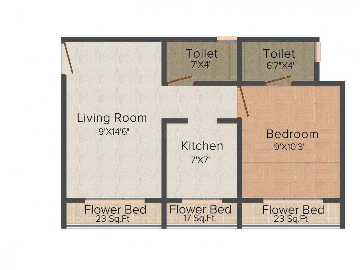 Floor Plan Image of 630 - 810 Sq.ft 1 BHK Apartment for buy in Madhuraaj Nandishwar