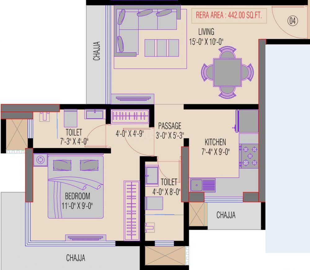 Suraj Emmanuel Floor Plan: 1 BHK Unit with Built up area of 441 sq.ft 1