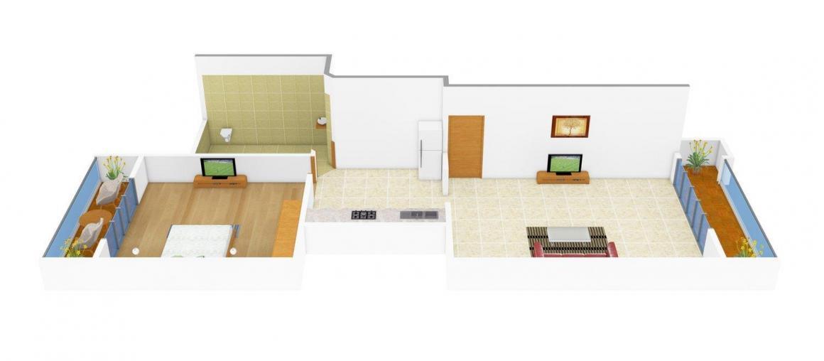Floor Plan Image of 0 - 530 Sq.ft 1 BHK Apartment for buy in Raj Sadan
