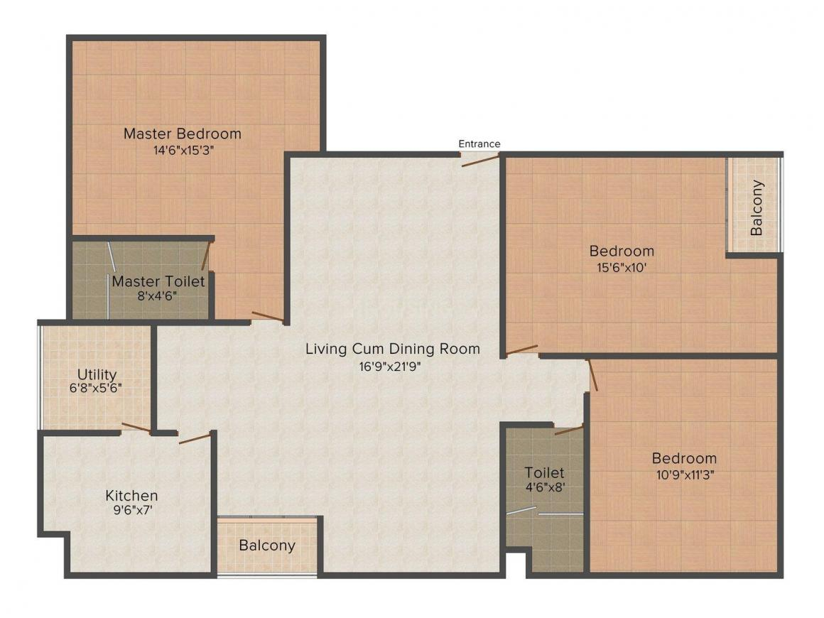 EHA Floor Plan: 3 BHK Unit with Built up area of 1120 sq.ft 1