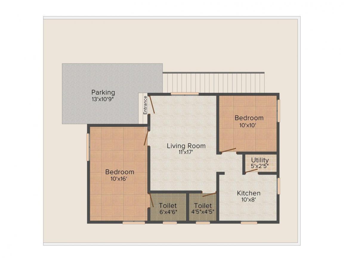 Floor Plan Image of 950.0 - 1150.0 Sq.ft 2 BHK Villa for buy in Jeyam's Sri Senthur Kavaiyakaliyamman Nagar