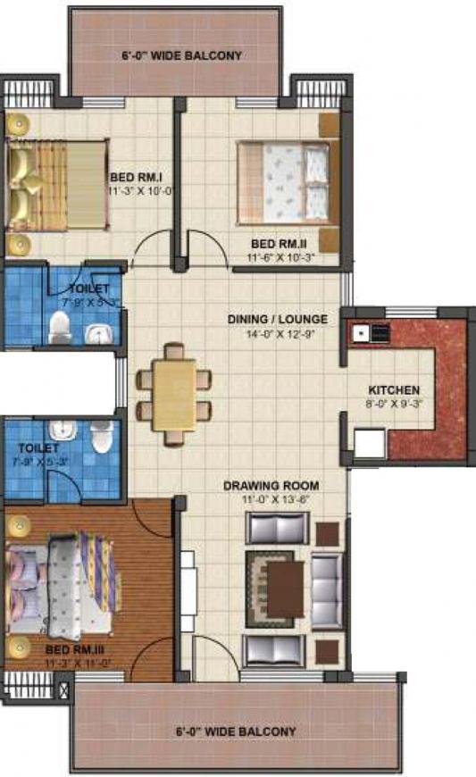 TDI Emperor Floors Floor Plan: 3 BHK Unit with Built up area of 2025 sq.ft 1