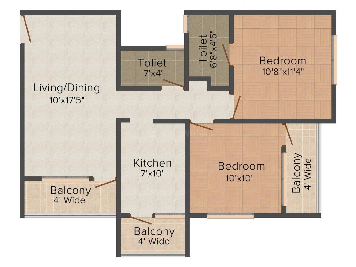 Floor Plan Image of 0 - 872 Sq.ft 2 BHK Apartment for buy in Shree Gajanan Plaza