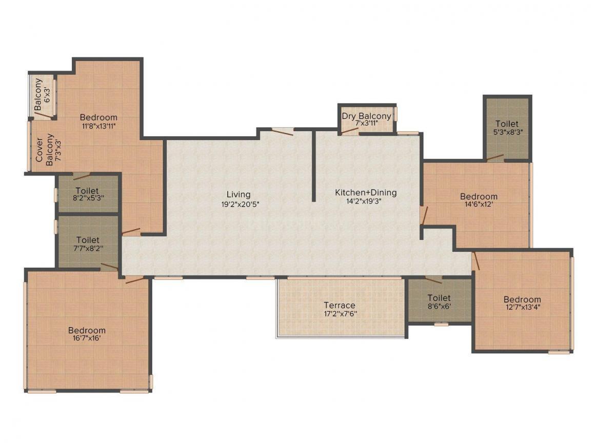 Floor Plan Image of 1850.0 - 2390.0 Sq.ft 4 BHK Apartment for buy in Paranjape Schemes Punarvasu