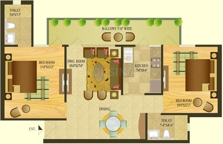 TDI Tuscan Heights Floor Plan: 2 BHK Unit with Built up area of 1080 sq.ft 1