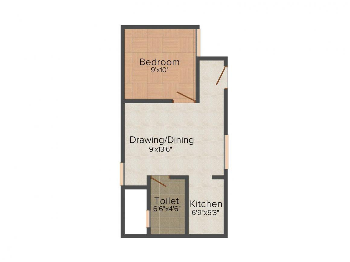 Apple Residency Floor Plan: 1 BHK Unit with Built up area of 400 sq.ft 1