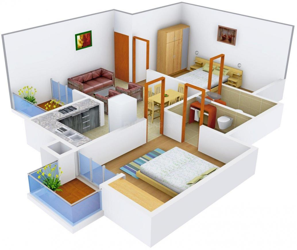Windsor Court Floor Plan: 2 BHK Unit with Built up area of 990 sq.ft 1