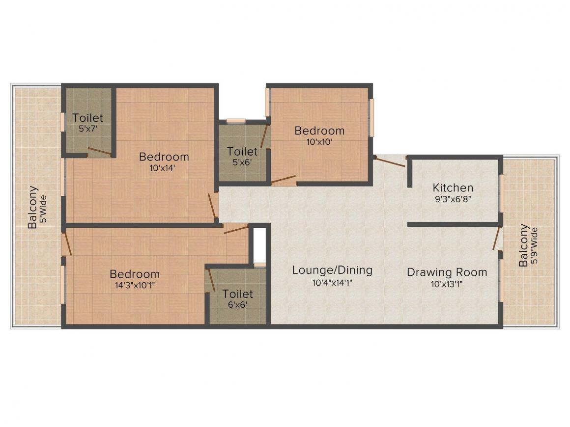 Eclat Elite Homes - III Floor Plan: 3 BHK Unit with Built up area of 1250 sq.ft 1