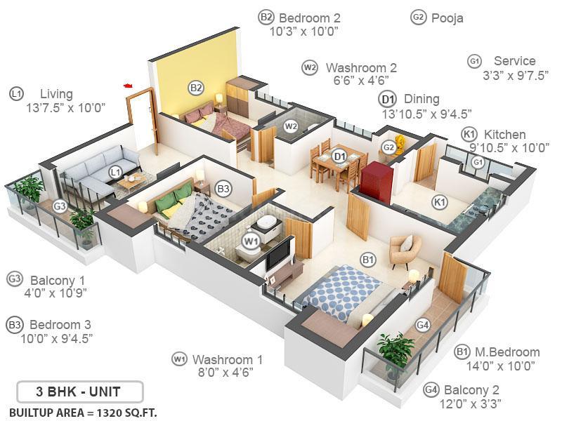 Pushkar's Krishnaarpanam Floor Plan: 3 BHK Unit with Built up area of 1320 sq.ft 1