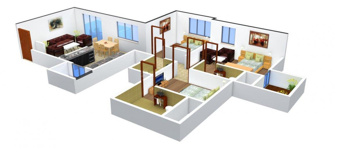Floor Plan Image of 960.0 - 1418.0 Sq.ft 2 BHK Apartment for buy in Sukhwani Dynasty