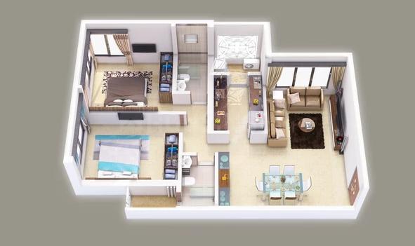 Hemani Login Floor Plan: 2 BHK Unit with Built up area of 765 sq.ft 1