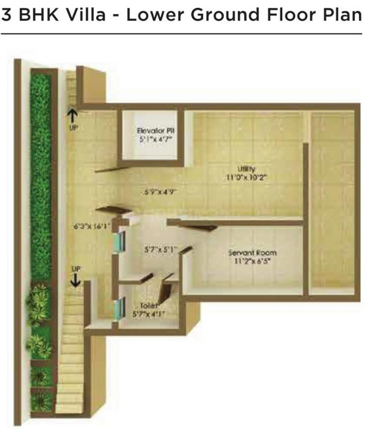 Floor Plan Image of 2389 - 3056 Sq.ft 3 BHK Villa for buy in Peninsula Ashok Beleza