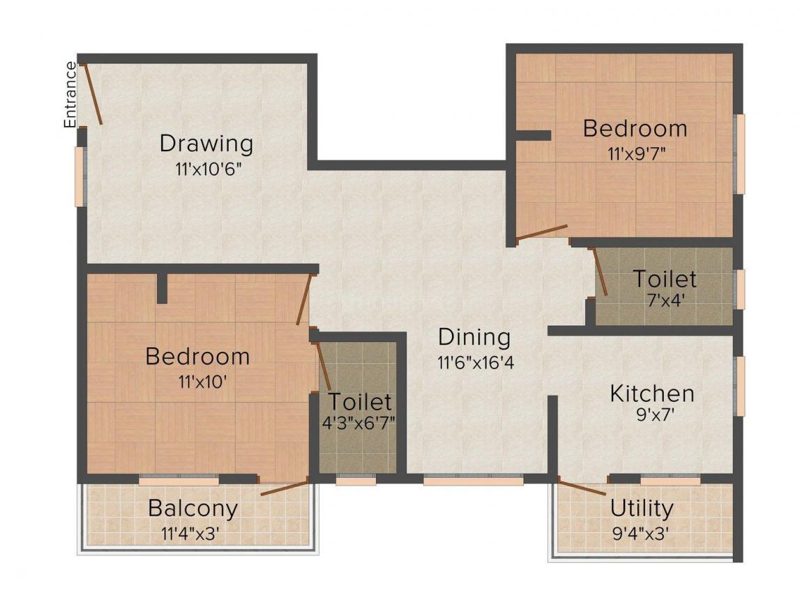 Floor Plan Image of 522.0 - 969.0 Sq.ft 1 BHK Apartment for buy in Aaditi Aaradana