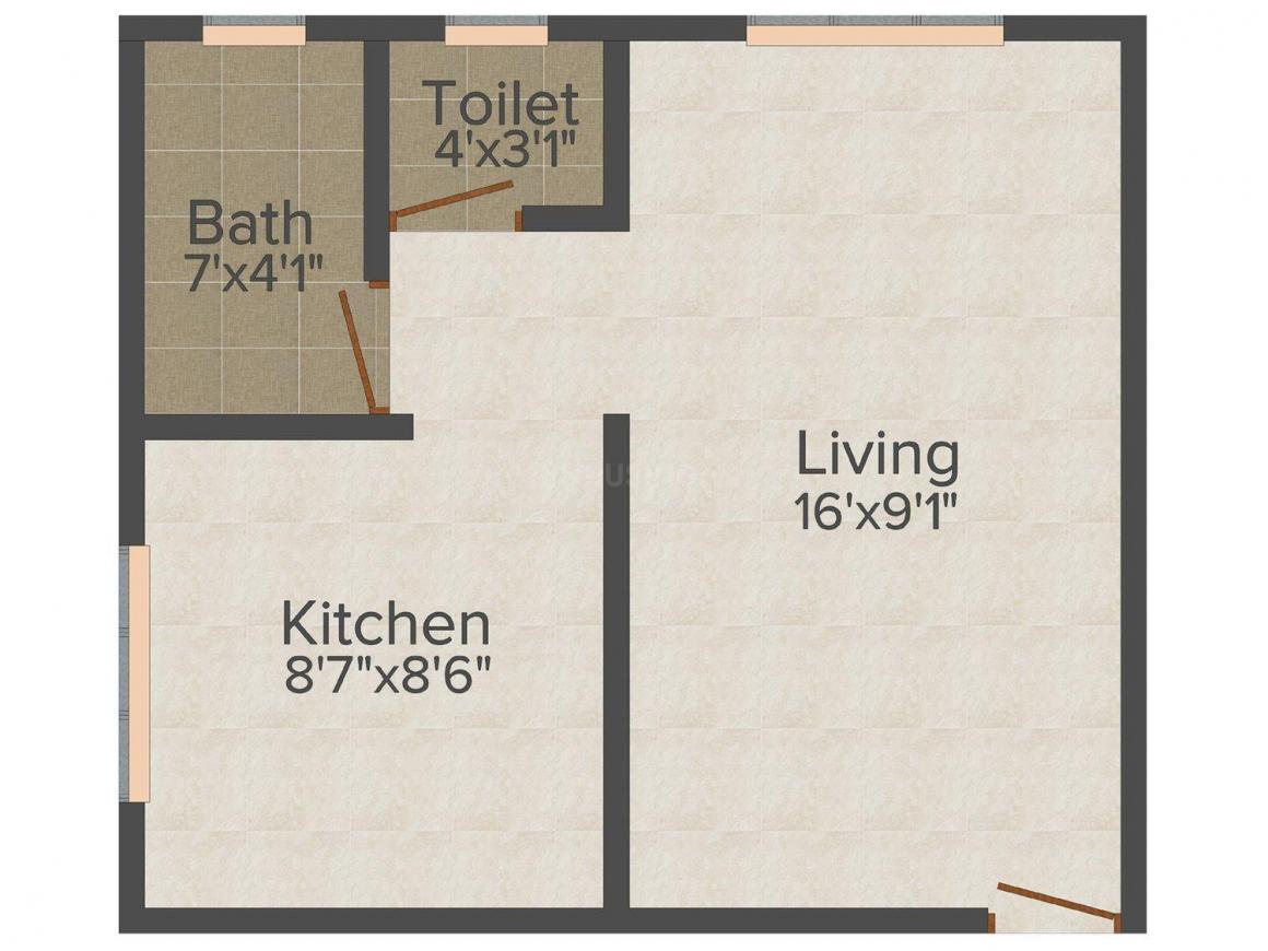 Floor Plan Image of 445.0 - 840.0 Sq.ft 1 RK Apartment for buy in Key Homes Krushna Kunj