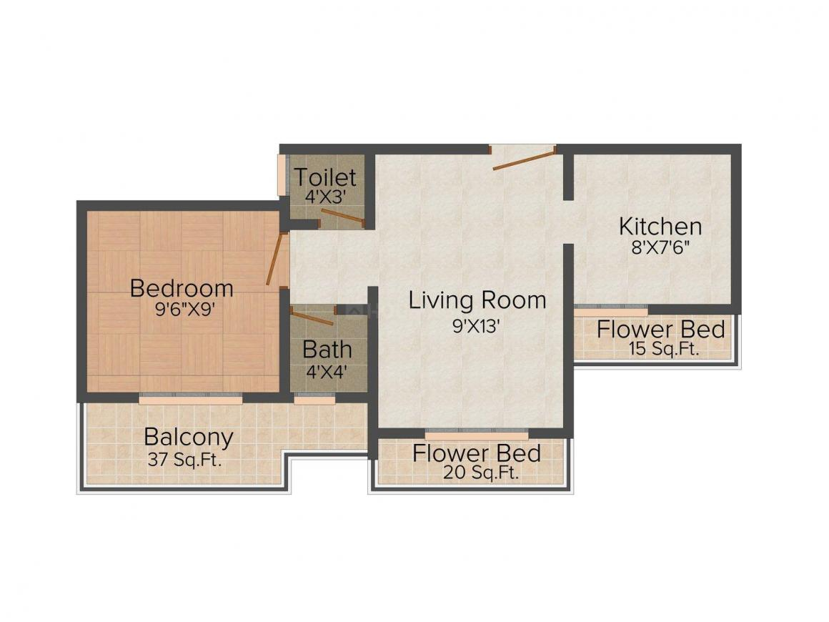 Floor Plan Image of 640.0 - 660.0 Sq.ft 1 BHK Apartment for buy in Aman Varad Plaza